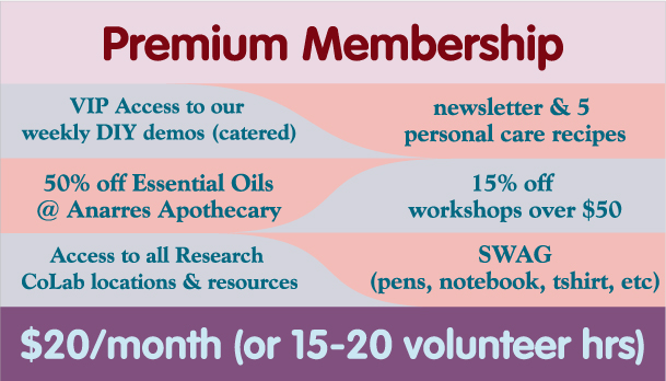 Premium Membership: $20 per month or 20 volunteer hours